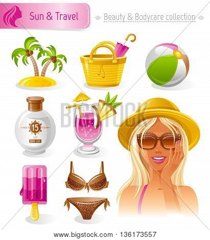 Beauty cosmetics icon set with beautiful young adult woman, holding hand near face on white background. Sun protection, sea beach travel healthy lifestyle symbols for peoples hair, skin, body care