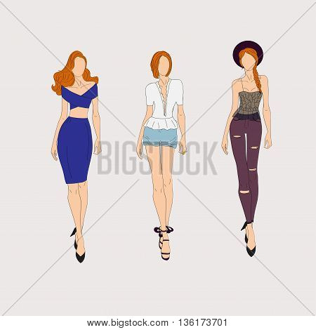 Hand Drawn Fashion Models.