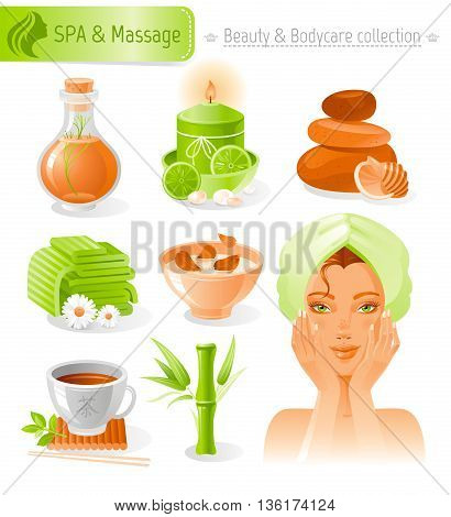 Beauty and cosmetics icon set with beautiful young adult woman, holding hand near face on white background. SPA and massage healthy lifestyle symbols for peoples hair, skin and body care.