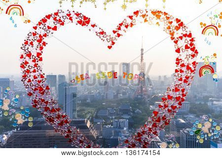 cityscape and skyline of tokyo through glass window with red abstract heart
