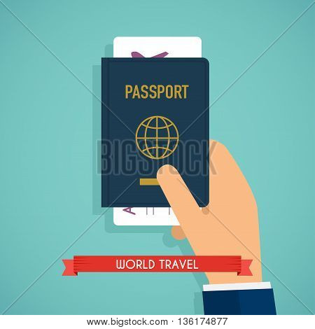 Hand holding passport with tickets. Passport icon on isolated background. Concept icons travel and tourism. International passport flat illustration.