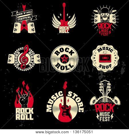 music labels set on grunge background. Design elements for logo label emblem sign. Vector illustration.