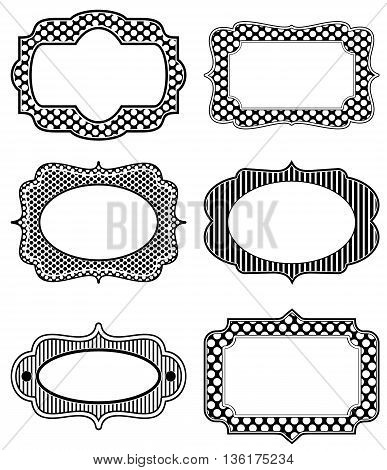 Set of icon designs in pure black and white