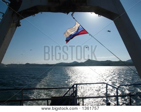 Stern Sea And Russian Flag Flutter