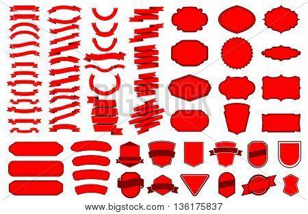 Set of ribbons. Ribbon banner set. Design elements for logo label emblem sign. Vector illustration.