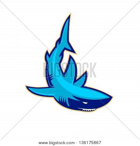 Template of the logo with shark. Sport team mascot. Sport club or team emblem template. Design element for logo label emblem sign badge. Vector illustration.