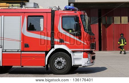Big Fire Engine Truck During A Fire Drill