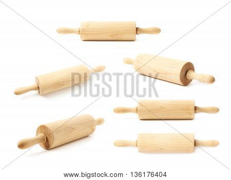 Cooking wooden rolling-pin isolated over the white background, set collection of six different foreshortenings