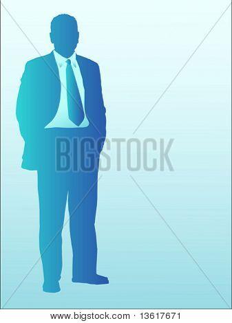 ilustração de pé de homem de negócios em tons de azuis