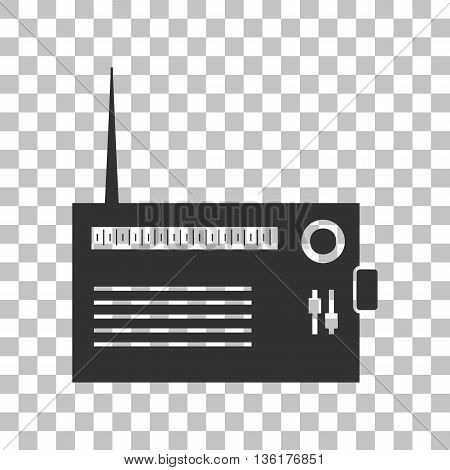 Radio sign illustration. Dark gray icon on transparent background.
