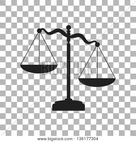 Scales of Justice sign. Dark gray icon on transparent background.