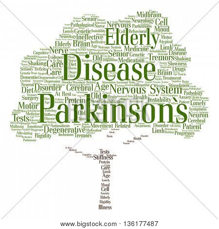 Concept conceptual Parkinson`s disease healthcare or nervous system disorder abstract tree word cloud isolated on background