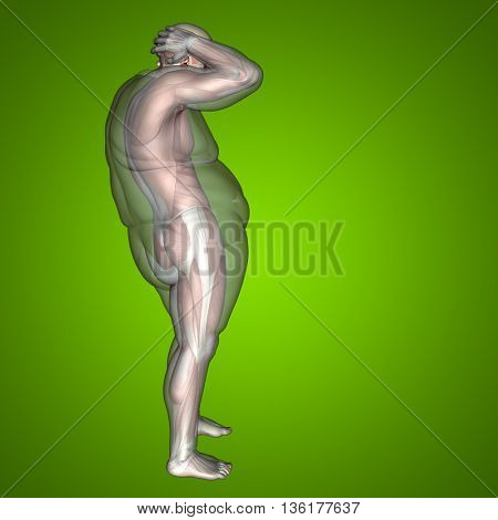 Concept or conceptual 3D fat overweight vs slim fit diet with muscles young man green gradient background metaphor weight loss, body, fitness, fatness, obesity, health, healthy, male, dieting, shape