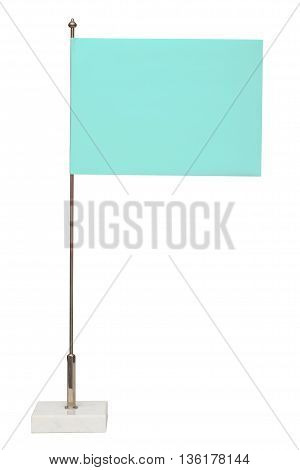Blue flag on steel spire on a marble pedestal. Isolated on the white background no shadow.