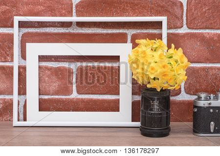 Yellow flowers in old lens. Vintage camera and empty white photo frames on a background of red brick wall.
