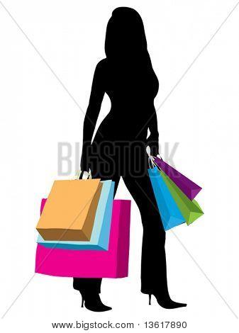 ilustração de silhueta de mulher com sacos de compras isolado sobre um fundo branco