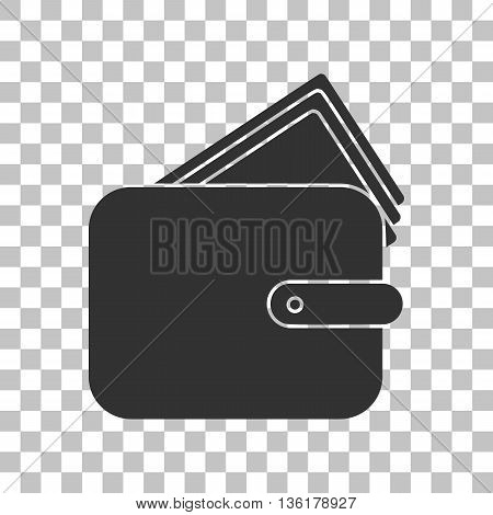 Wallet sign illustration. Dark gray icon on transparent background.