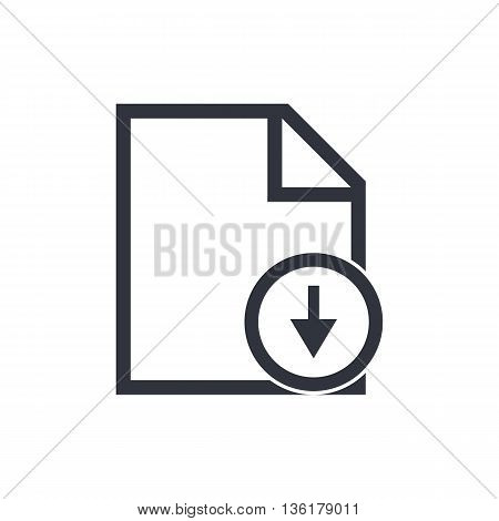 File Down Icon In Vector Format. Premium Quality File Down Symbol. Web Graphic File Down Sign On Whi