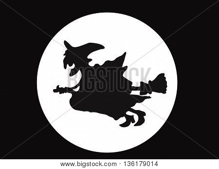 A witch flying on a broomstick against a full moon