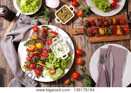 barbecue meat and vegetable