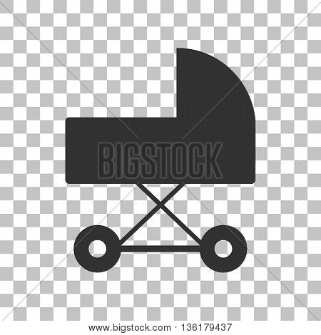 Pram sign illustration. Dark gray icon on transparent background.