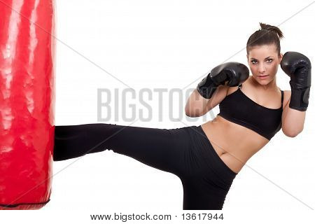 Woman Practicing Kickbox