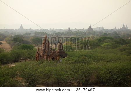 Amazing architecture of old Buddhist Temples at Bagan Kingdom, Myanmar Burma