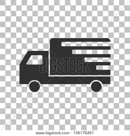 Delivery sign illustration. Dark gray icon on transparent background.