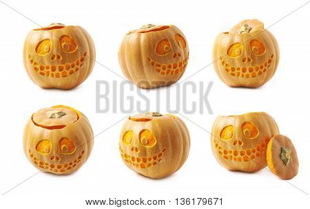 Smiling Jack-O-Lantern pumpkin isolated over the white background, set of six different foreshortenings