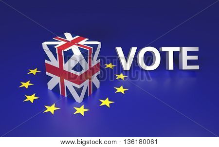 The illustration symbolize GB leaving EU voting. Text written VOTE. 3D rendering