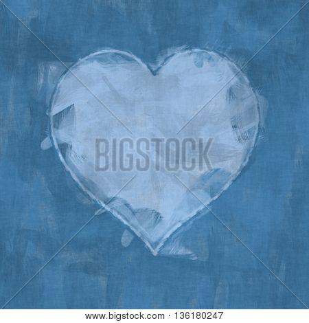 2D illustration of an abstract heart brush strokes background