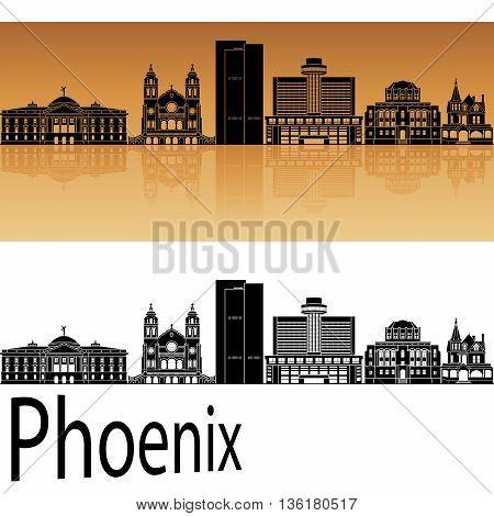 Phoenix skyline in orange background in editable vector file