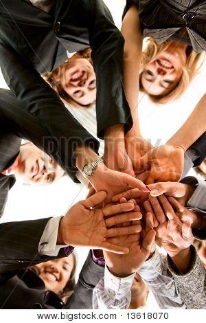 Geschäft Hände von Teamarbeit in einem Büro in einem Konferenzraum