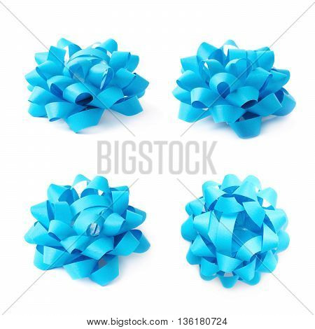 Decorational blue ribbon gift bow isolated over the white background, set collection of four diffirent foreshortenings