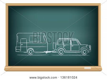 The camp car drawn on school blackboard on white background