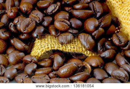 roasted coffee beans background . can use for background