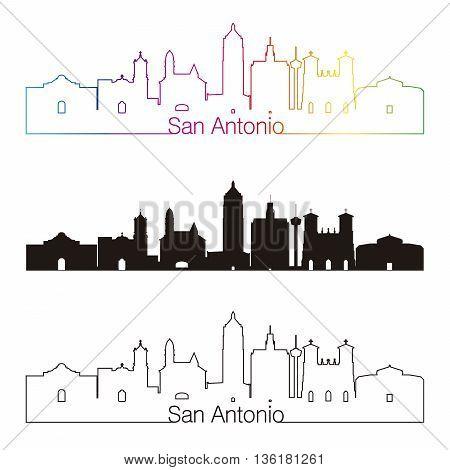 San Antonio skyline linear style with rainbow in editable vector file