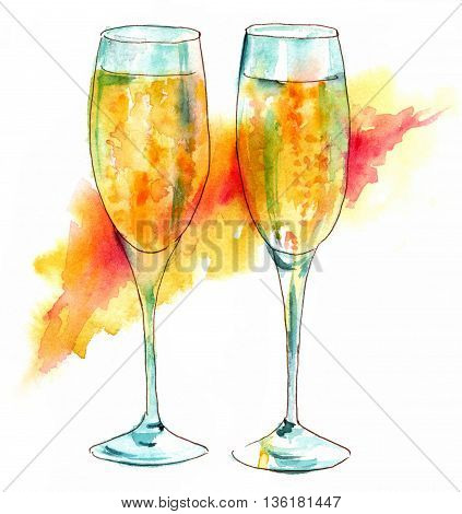A pen and ink drawing of two flute glasses of sparkling wine with a watercolor background stain hand painted on white background