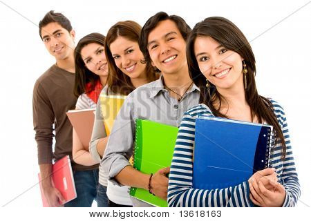 college or university students in a row - isolated