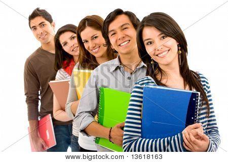 estudantes de faculdade ou Universidade em uma fileira - isolado