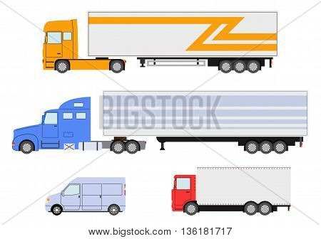 Set of truck, van icon. Delivery trailer truck. Delivery trucks isolated. Vector illustration.