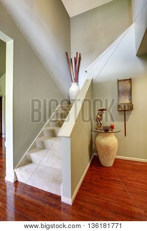 House Interior. Staircase In The Hallway With Hardwood Floor.