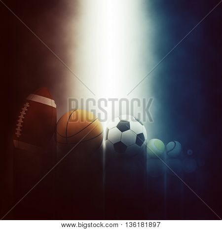 3D render of various sports balls on dramatic background