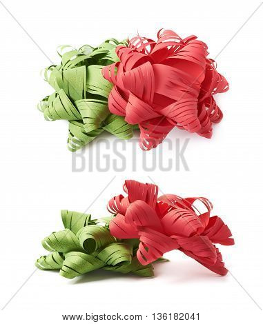 Two decorational red and green christmas ribbon gift bows, composition isolated over the white background, set collection of two diffirent foreshortenings