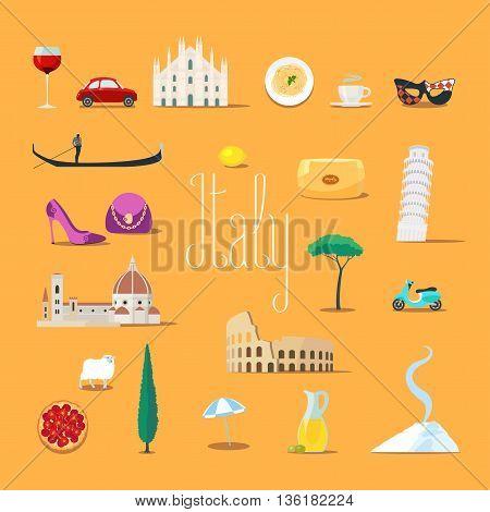 Travel to Italy vector icons set. Italian landmarks cathedral gandola Rome Colosseum etc