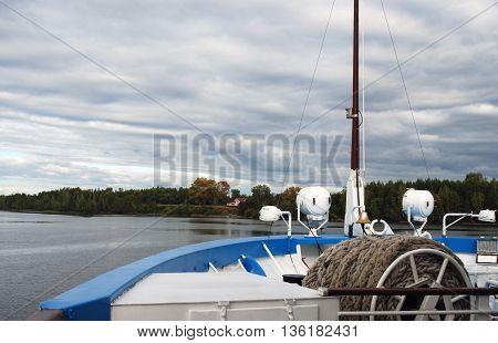 Russian nature. The Volga river. Cruise ship deck