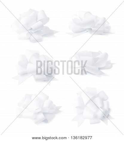 Decorational white ribbon gift bow isolated over the white background, set collection of six diffirent foreshortenings