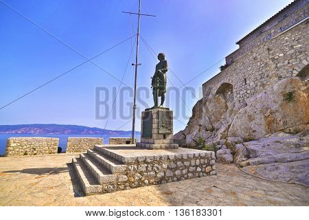HYDRA GREECE, JUNE 03 2016: the statue of Andreas Miaoulis at Hydra island Greece. Editorial use.