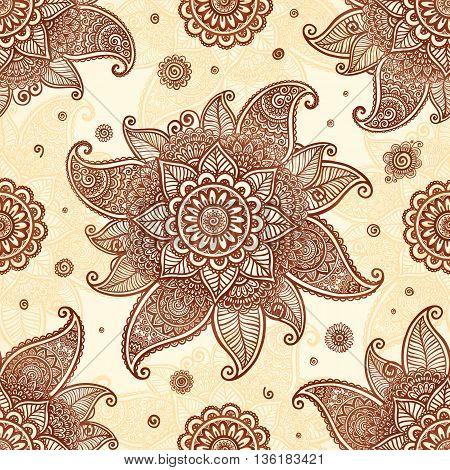 Hand drawn mehndi henna tattoo flowers vector seamless pattern