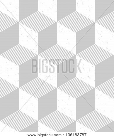 Isometric cubes seamless pattern in retro style. 3d optical illusion background with grainy texture